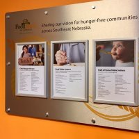 Donor recognition sign was designed by Vision Exhibits to honor the generosity of donors and allows for easy updates.