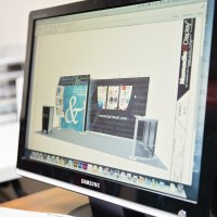 Designing a trade show exhibit on a monitor