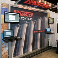 BinMaster 10x10 Extrusion frame with Canopy and SEG graphics designed by Vision Exhibits
