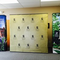 This FabriMural was designed to work as individual walls or flush for a complete 10x20 backwall. From Vision Exhibits.