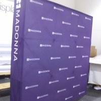 10' FabriMural makes an ideal media wall. From Vision Exhibits.