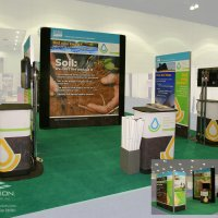20x30 Island designed for reconfiguring to 10x10, 10x20. Designed by Vision Exhibits.