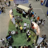 20x60 Island Exhibit Rental from the top designed by Vision Exhibits