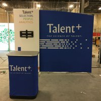 TalentPlus added another 10ft FabLite and Kiosk to their shows complete with a case-to-counter conversion kit.